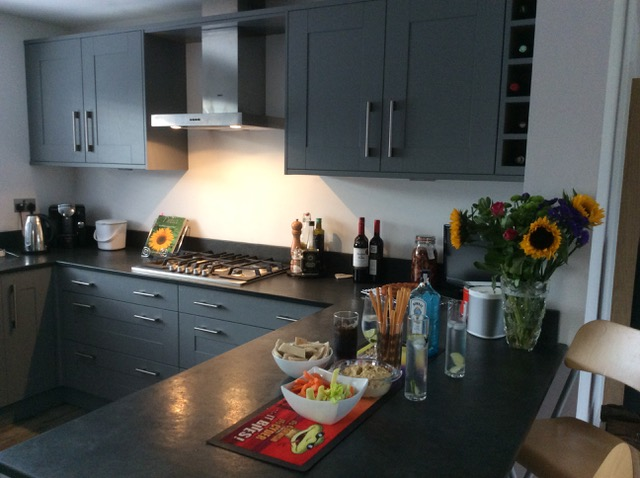 Slate worktop in Devon kitchen after installation