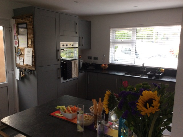 Second image of kitchen after slate worktop installation