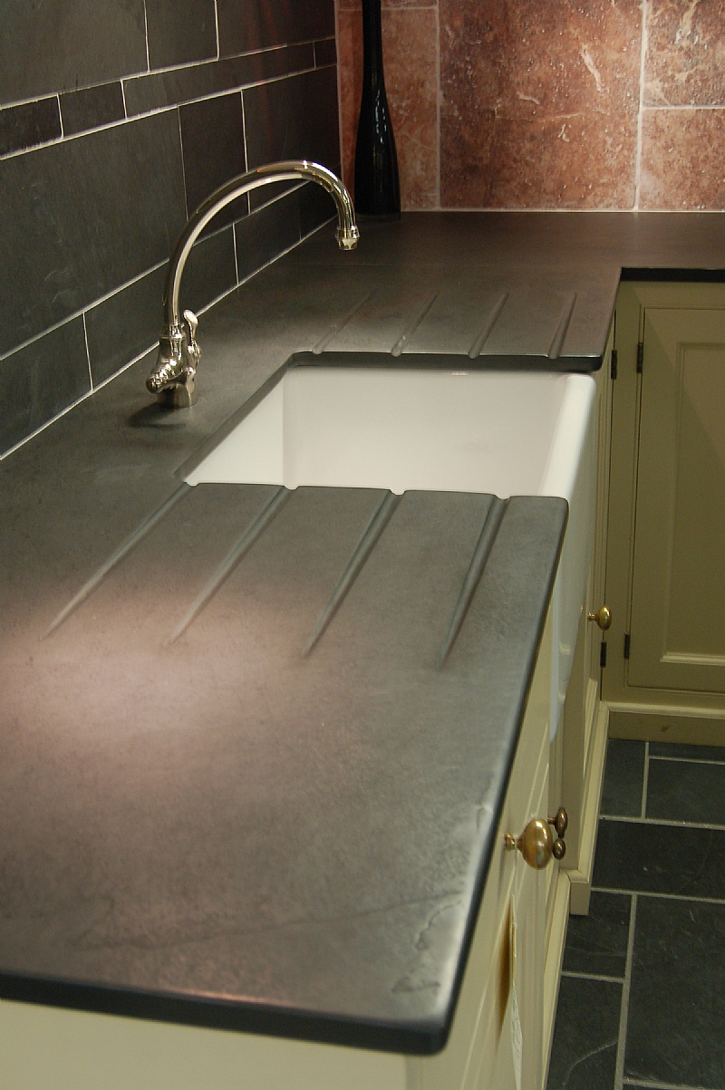 Slate Sink : Photographs of Slate Kitchen Worktops, Work Surfaces, Sink Surrounds