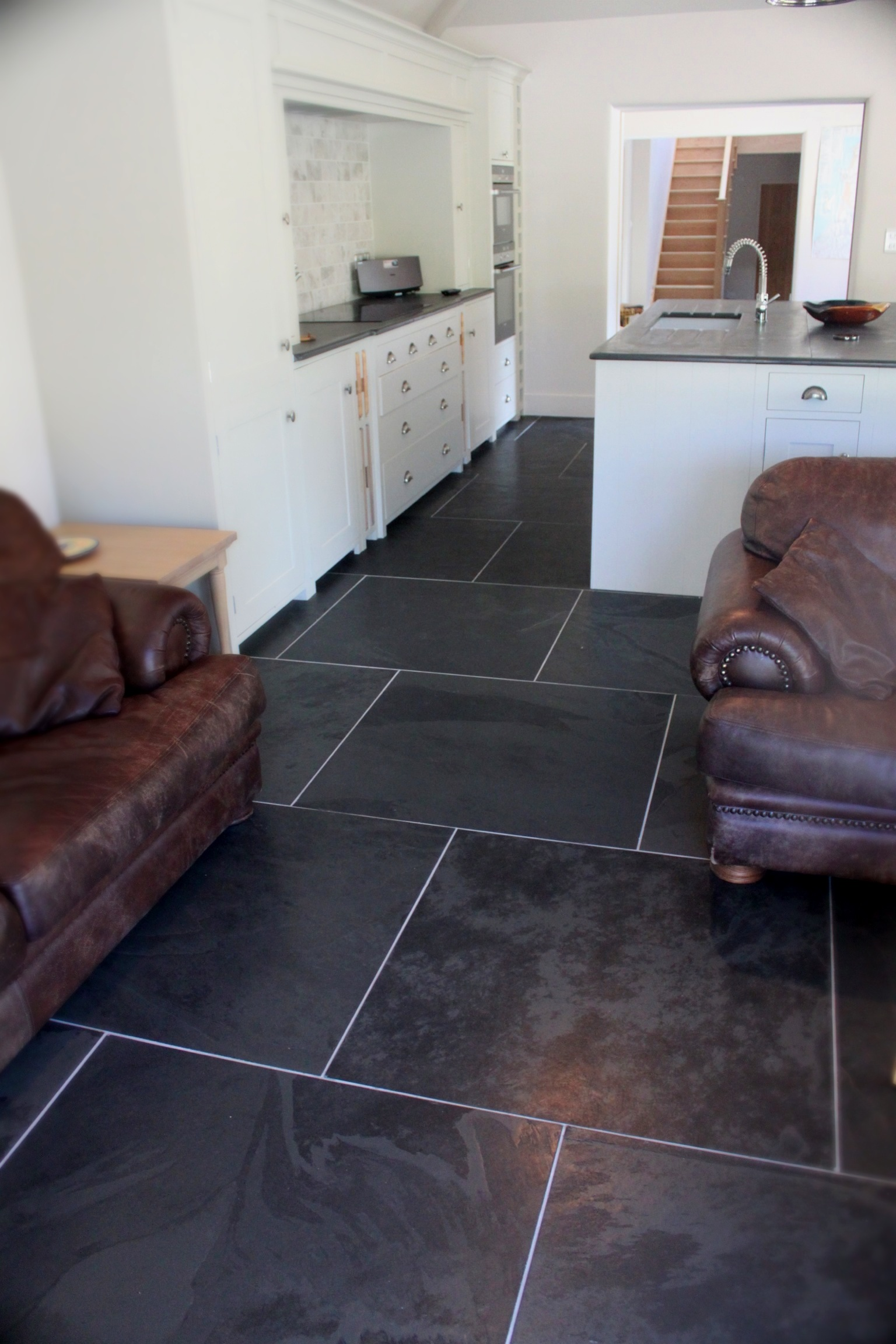 Flooring gallery of slate floor tiles and flagstones preta hand polished brazilian slate flooring dailygadgetfo Images