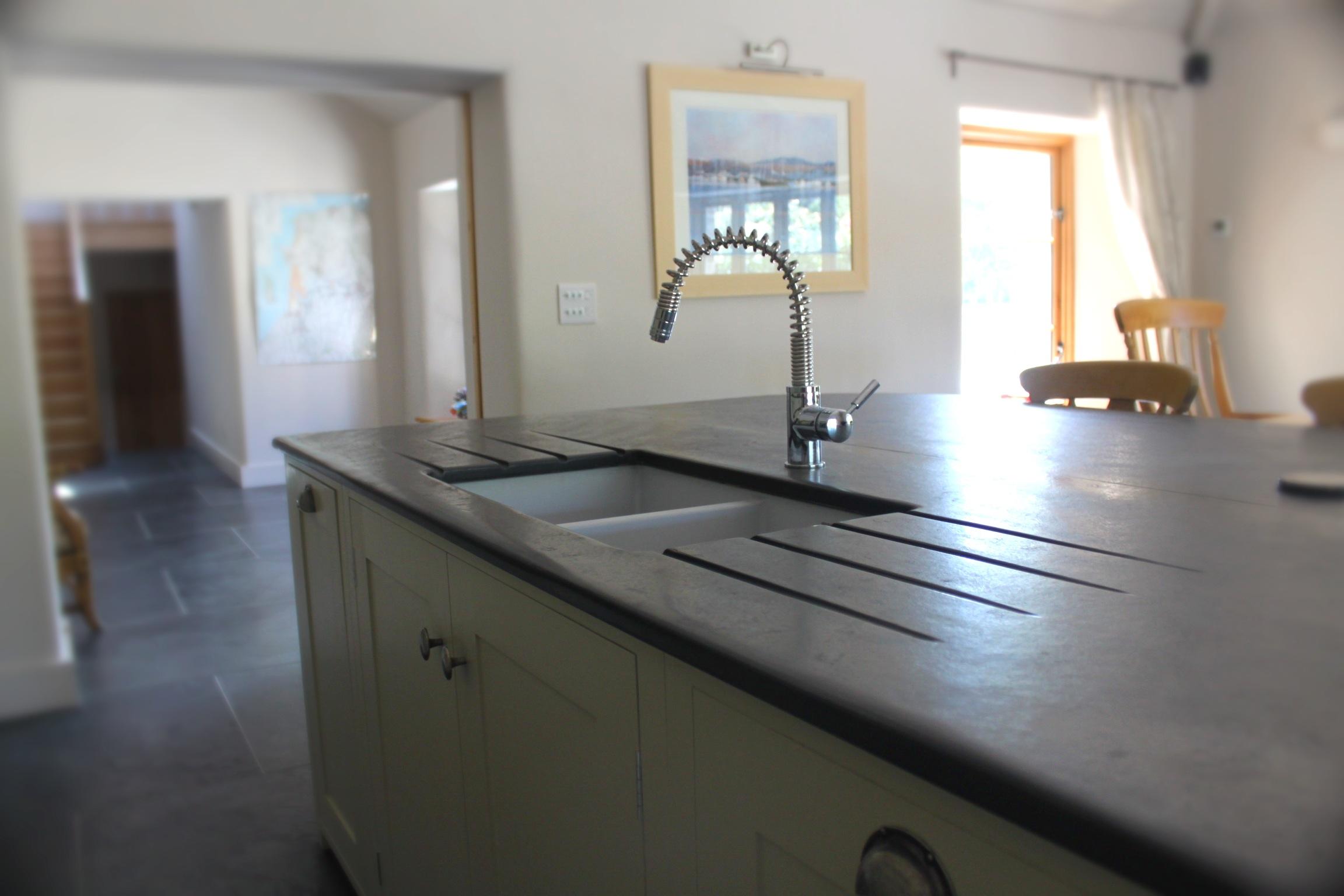 Photographs Of Slate Kitchen Worktops Work Surfaces Sink