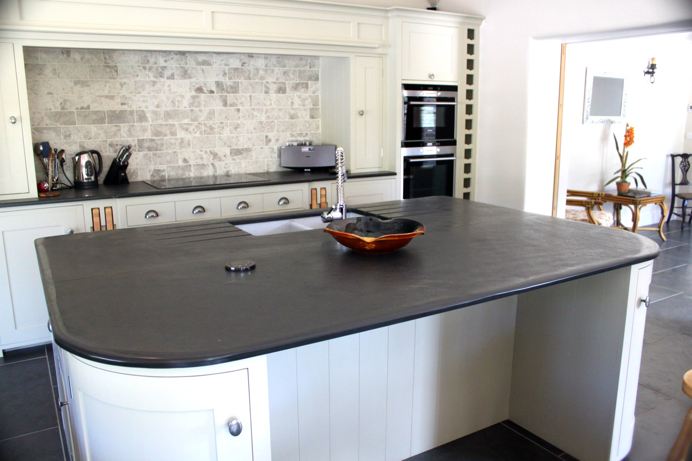 Photographs Of Slate Kitchen Worktops Work Surfaces Sink Surrounds - Slate grey kitchen units