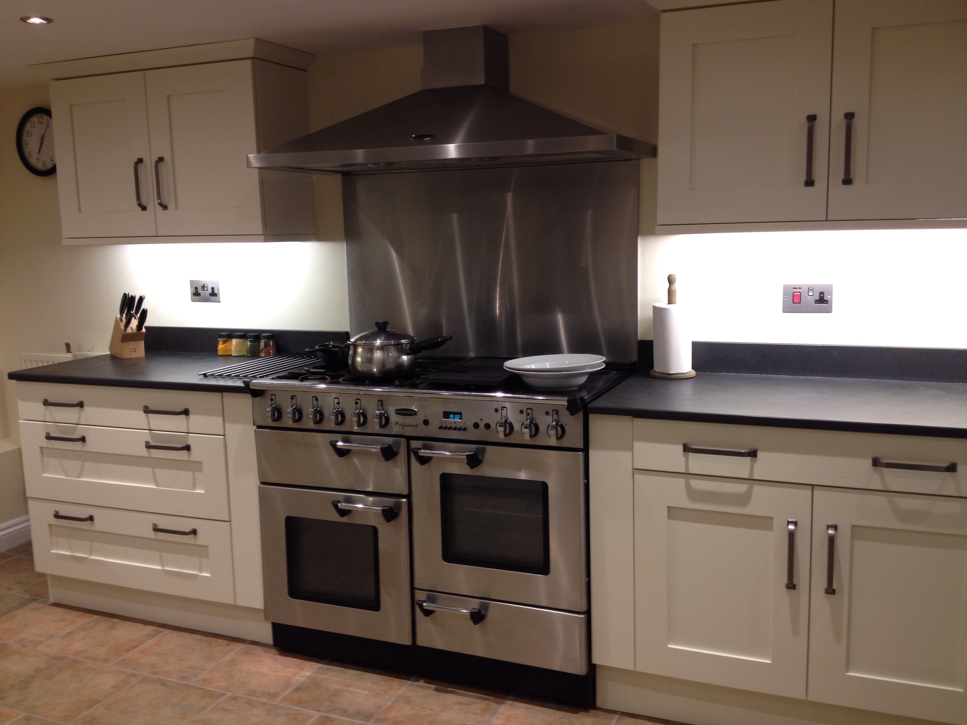 Cooker In Kitchen ~ Oven and hob slate surrounds custom made in the uk