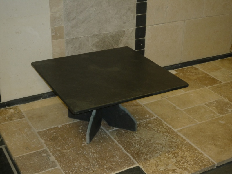 Slate seating wood and slate tables images for Square coffee table with seating underneath