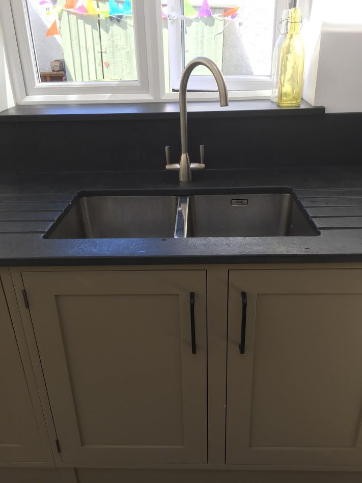 Natural Slate Stone Sink Surrounds And Grooved Draining Boards