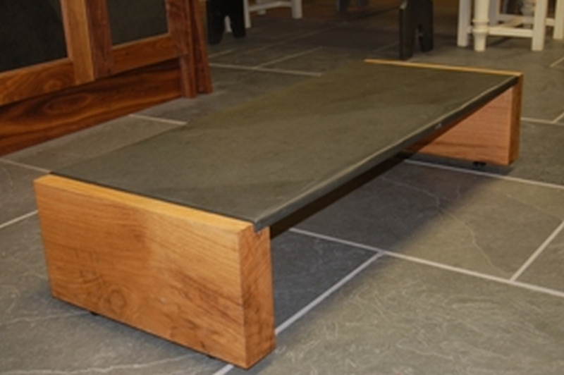 1.2Mtr Oak U0026 Slate Coffee Table