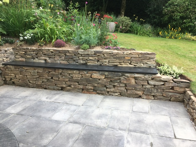 Ardosia slate garden slabs and bench