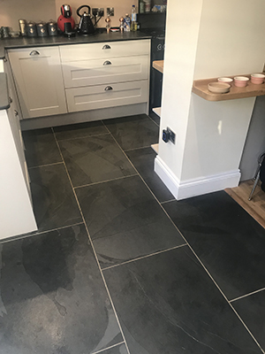 slate floor tiles in a traditional kitchen design