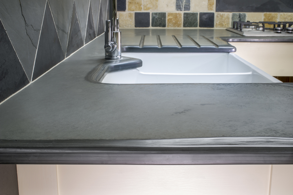 bespoke polished slate kitchen worktop with a fantastic finish