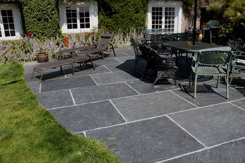 slate flagstones in a cottage garden