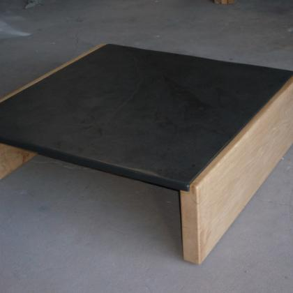 1mtr x 1mtr Oak & Slate Coffee Table