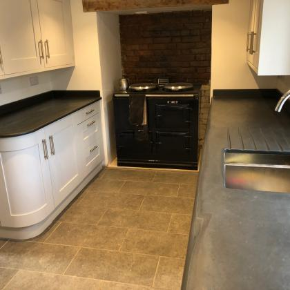 Slate sink with drainer and aga oven