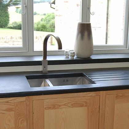 50mm black Brazllian slate worktop and cills