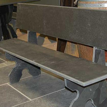 Brazillian Black Slate Garden Bench
