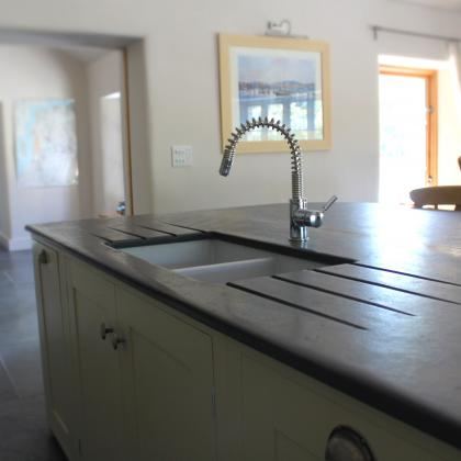slate worktop with drainer and sink cut out
