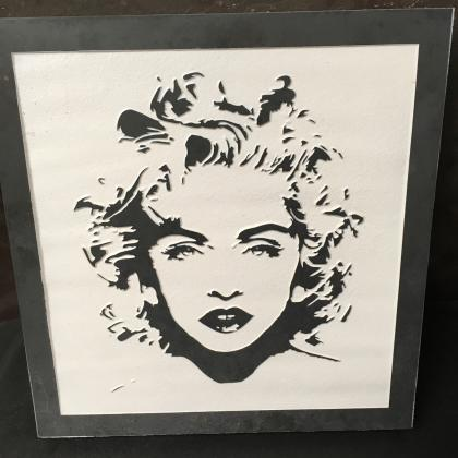 Marilyn Monroe engraved onto slate slab
