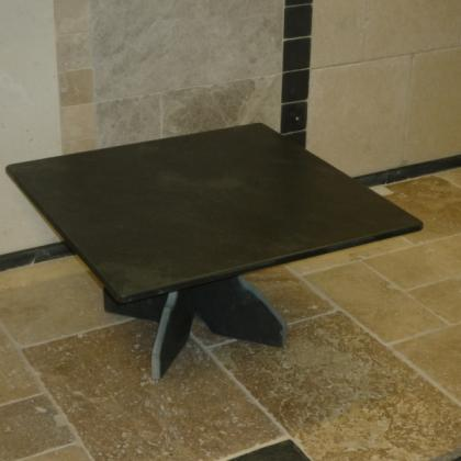 Square Coffee Table with Slate Base