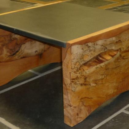 Monterey Pine and Slate Square Coffee Table