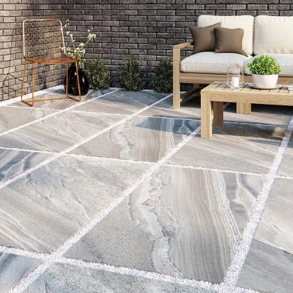 Quartzite porcelain patio