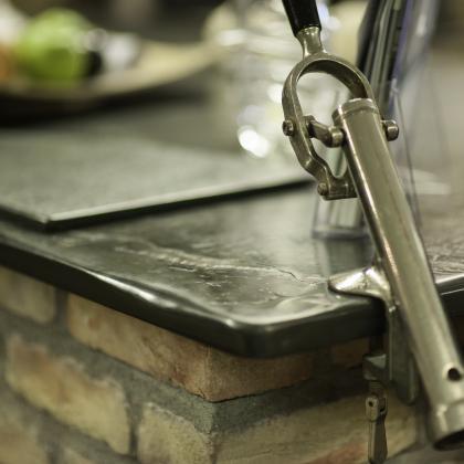 Bespoke slate bar worktop with built in bottle opener