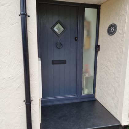 Traditional slate front door step