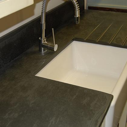 Aged finish black graphite slate worktop 25mm thick