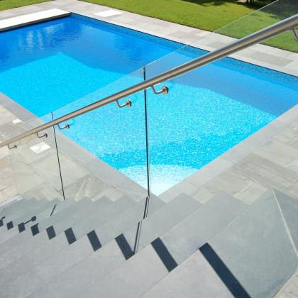 Exterior slate steps for swimming pool