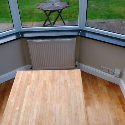 Modern bay window with custom cut slate window sills