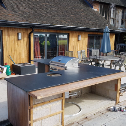 slate worktop for an outdoor bbq