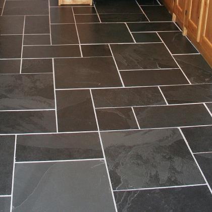 black riven random pattern Brazilian slate flooring