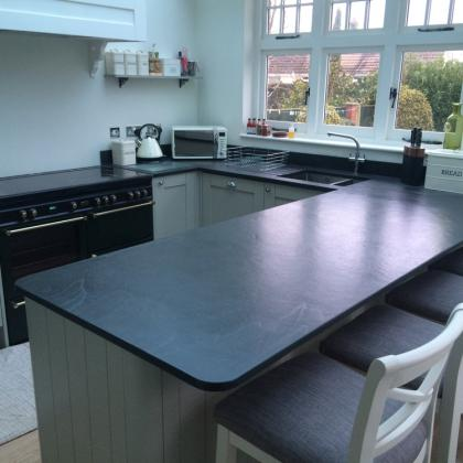 Black slate worktop for a kitchen isalnd