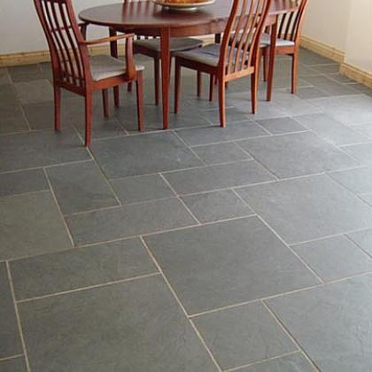 blue grey riven random pattern Brazilian slate flooring