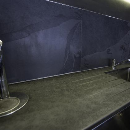 Commercial sink suround with built in washer and sunken sink