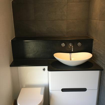 custom made slate sink for under the eaves bathroom