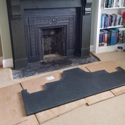intricate cut slate fire hearth before being fitted