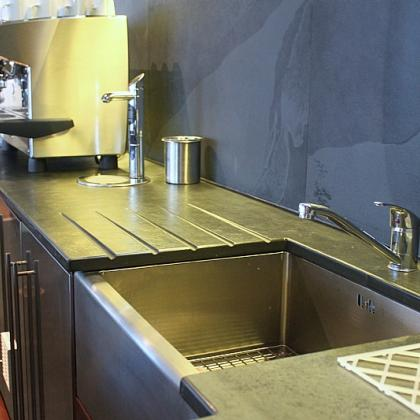 graphite black 25mm worktop with sink & slate splashback