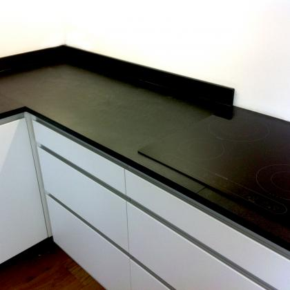 slate worktops in modern kitchen, small pencil edge with upstand