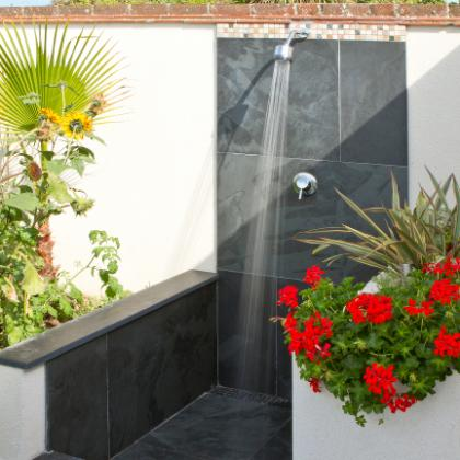 Outdoor Shower with slate floor and walls