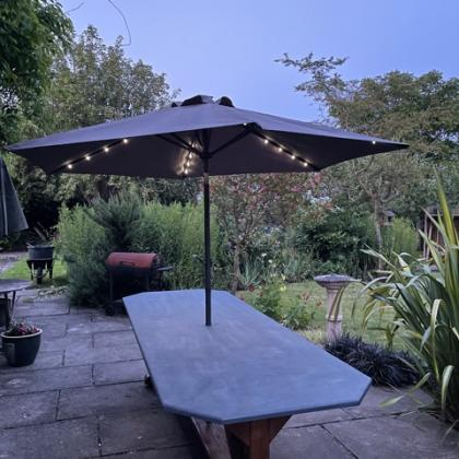 outdoor slate table with umbrella