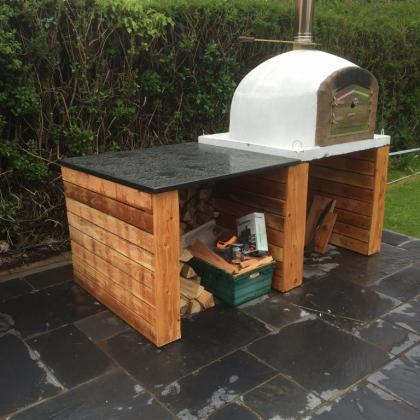 Pizza Oven on Slate Tiled Patio