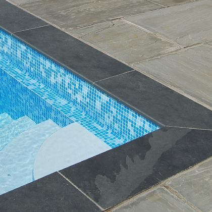 Pool Bullnose edging in smooth black slate