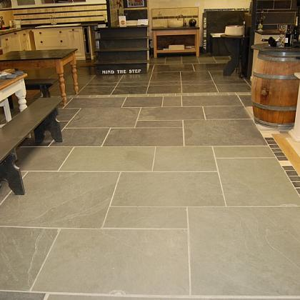 showroom blue/grey and black Brazilian riven slate flooring