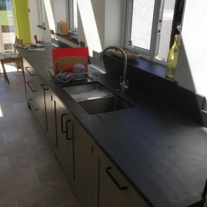 Galley style long sink unit with custom made worktop