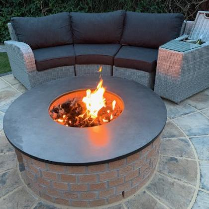 fire pit with slate worktop