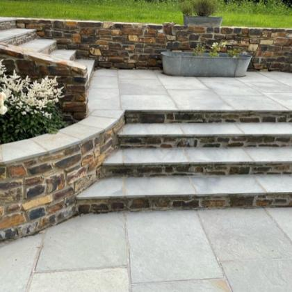 double sided slate steps in a patio