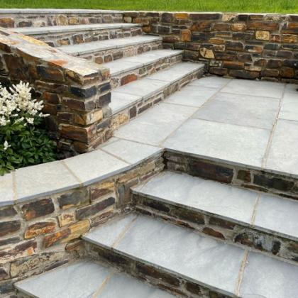 slate steps leading up to garden