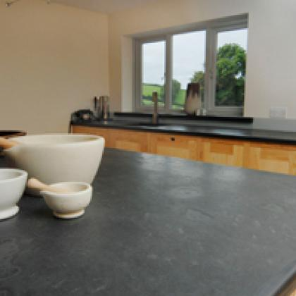 Kitchen island with slate worktop