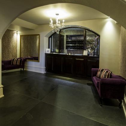 Slate flagstones laid on the floor in a hotel reception area