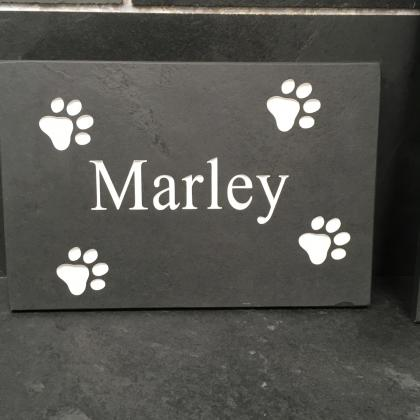 Slate sign for persons name with paw prints