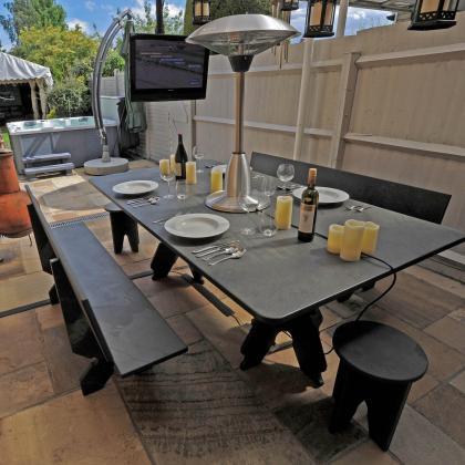 Picnic bench and seats in solid slate